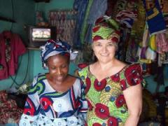 MJ Oliveri with Bienvenue, who created the African outfit she is wearing